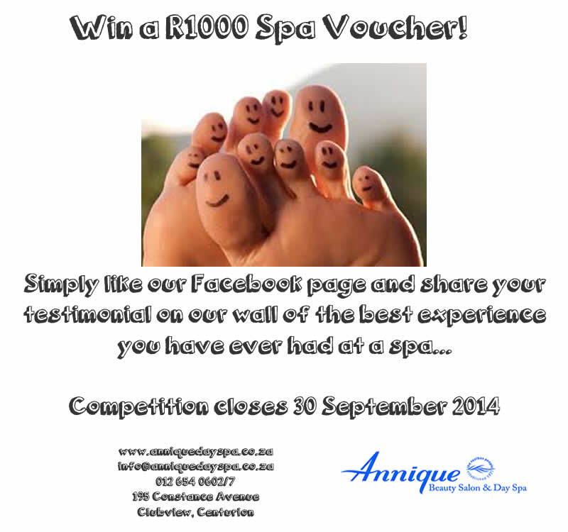 Win a R1000 Spa Voucher!
